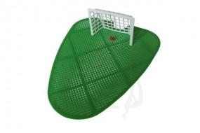 Urinalsiebeinsatz aus Kunststoff, grün zur Mehrfachverwendung mit Fussballtor und Ball
