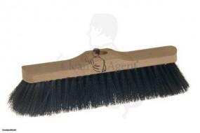 Saalbesen(Stuben) Roßhaar/Mischung, 1-Loch, 28cm mit weicher schwarzer Borste, Holzkörper