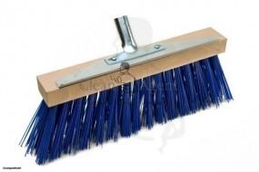 Schneebesen mit Kratzleiste metall, 35cm aus robustem Sattelholz und blauer Borste