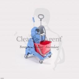 Einfachfahrwagen aus robusten Kunststoff mit Presse, Eimer und Schiebegriff 1x20L