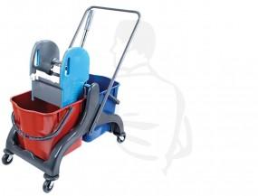 Doppelfahrwagen aus robusten Kunststoff komplett mit Presse und Eimer 2x20 Liter