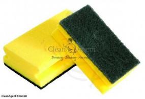 Schwämme, gelb/grün, 150x70x45 mm mit Griffleiste, Standard, scheuerstark
