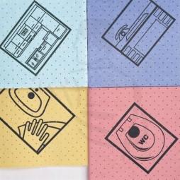 Fenstertuch, gelocht, gelb, 38x38 mit Piktogram (Bad/Waschbecken) perforiert