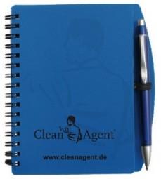 Notizbuch mit Kugelschreiber Busy blau aus stabilem Kunststoff mit Spiralbuchbindung.