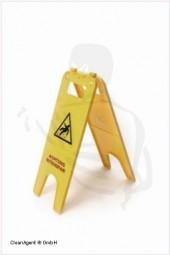 Warnschild Aufsteller beidschenklig gelb mit Aufdruck