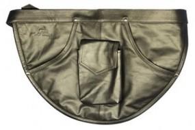 Glasreinigerschürze mit 3 Taschen aus echtem edlen schwarzen Rindsleder und Gürtel