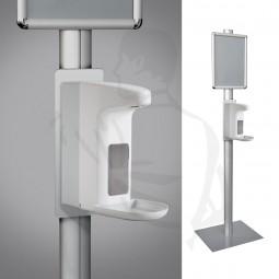 Seifen-Desinfektionssäule mit Fuß und Schild 1,81m weiß/grau mit Sensor Spender aus Kunststoff 1L