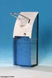Desinfektionsmittelspender 500 ml aus Edelstahl gebürstet mit Hebel (blau)