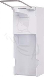 Desinfektionsmittelspender, weiss, 500ml/1 Liter aus ABS-Kunststoff, mit langem Edelstahl Hebel