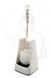 WC-Garnitur, mit Bürste zum einhängen, weiß, im eckigen Behälter D19/20cm