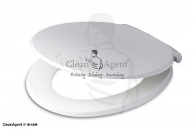 WC-Kunststoff-Sitz stabile Ausführung MDF weiß mit Edelstahlscharnier, bruchsicher