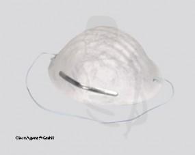 Filtrierende Staubmaske (Mundschutz) 2lg., weiss mit Gummiband aus Vlies (100er Pack)