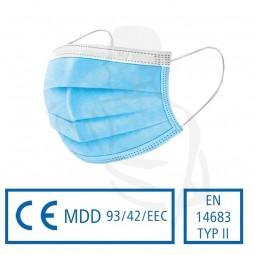 Gesichtsmaske Typ2 3-lg, blau/weiss mit Gummizügen und einstellbarem Nasenrücken aus Vlies 17,5x9,5c