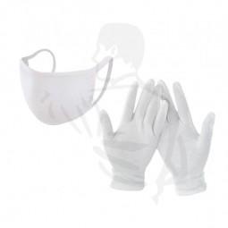 Gesichtsmaske & Handschuhe Schutzset aus Baumwolle/Polyester, weiss wiederverwendbar