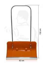 Schneelady aus Kunststoff, rot, 82x44cm Großraumschneeschieber mit Laufrollen -komplett-