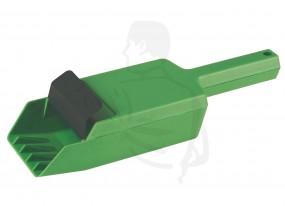 Streugutschaufel aus robusten Kunststoff, grün automatisches Öffen und Schließen beim streuen