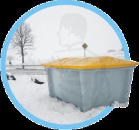 Streugutbehälter ohne Entnahme 500 L Behälter sind absolut korrossions-